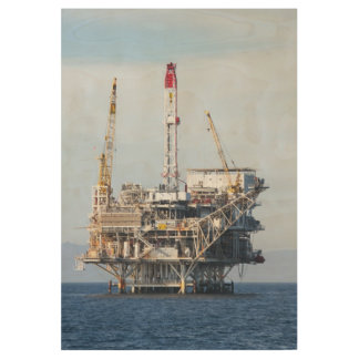 Oil Rig Wood Poster