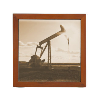 Oil Well Pumping at Sunset (Sepia Tone) Desk Organiser