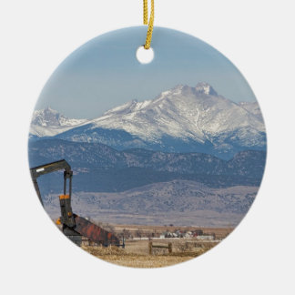 Oil Well Pumpjack And Snow Dusted Longs Peak Round Ceramic Decoration