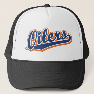 Oilers in Blue and Orange Trucker Hat
