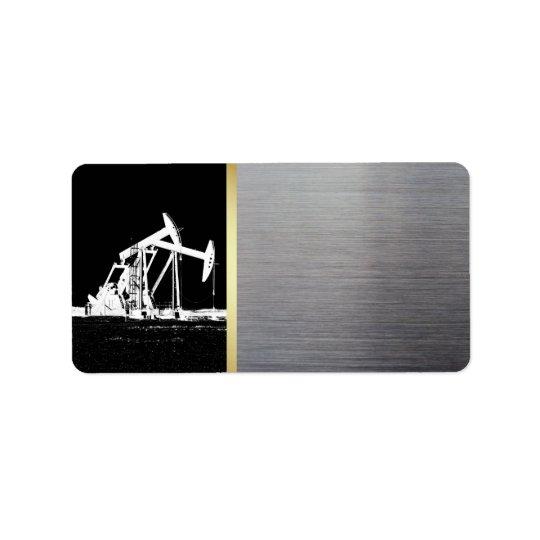 Oilfield Pumping Unit Black, Gold, Silver Address Label
