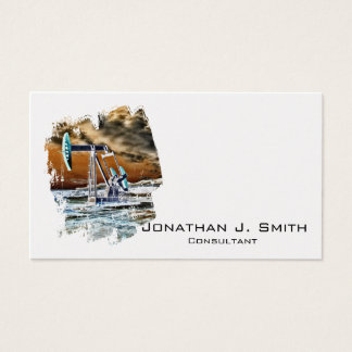 Oilfield Pumping Unit Colourful Splash Business Card