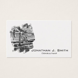Oilfield Pumpjack Black, White, Splash Business Card