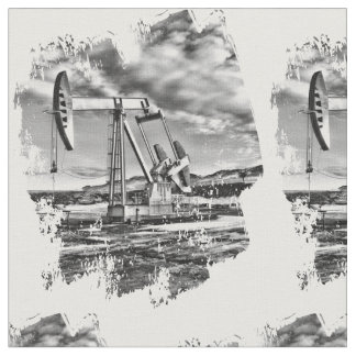 Oilfield Pumpjack in Black and White Splash Fabric