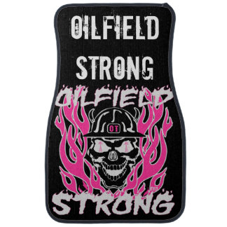 Oilfield Strong in Pink and White Car Mat