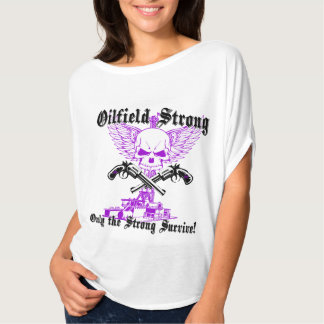 Oilfield Strong with Wings and Pistols in Purple T-Shirt
