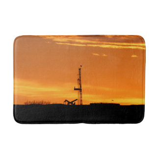 Oilfield Workover Service Rig, Orange Sky Sunset Bath Mat