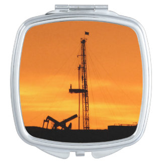 Oilfield Workover Service Rig, Orange Sky Sunset Travel Mirrors