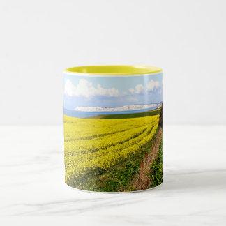 Oilseed rape field in the Isle of Wight Two-Tone Mug