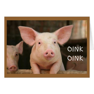 "OINK OINK=""HAPPY BIRTHDAY"" IN PIG LANGUAGE CARD"