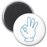 Ok Hand 6 Cm Round Magnet