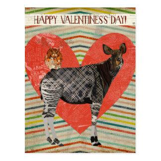OKAPI & OWL VALENTINE'S Postcard
