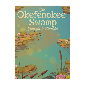 Okefenokee Swamp cartoon travel poster