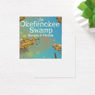 Okefenokee Swamp cartoon travel poster Square Business Card