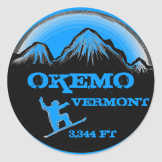 Okemo Vermont blue snowboard art stickers