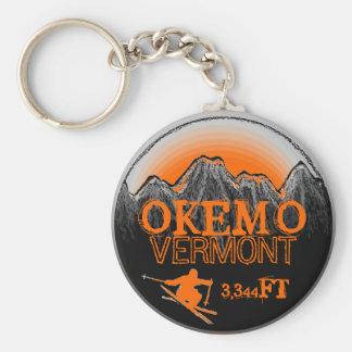 Okemo Vermont orange ski art elevation keychain