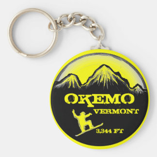 Okemo Vermont yellow snowboard art keychain