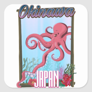 Okinawa Japan Squid travel poster Square Sticker