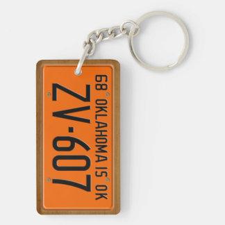 Oklahoma 1968 Vintage License Plate Keychain