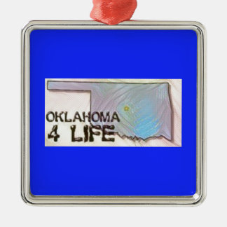 """Oklahoma 4 Life"" State Map Pride Design Metal Ornament"