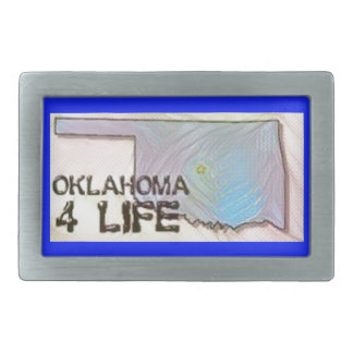 """Oklahoma 4 Life"" State Map Pride Design Rectangular Belt Buckles"