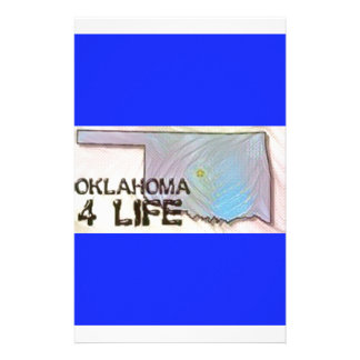 """Oklahoma 4 Life"" State Map Pride Design Stationery"
