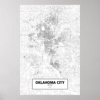 Oklahoma City, Oklahoma (black on white) Poster