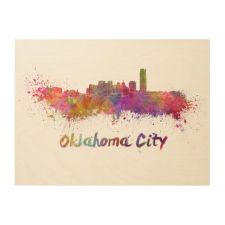 Oklahoma City skyline in watercolor Wood Wall Decor