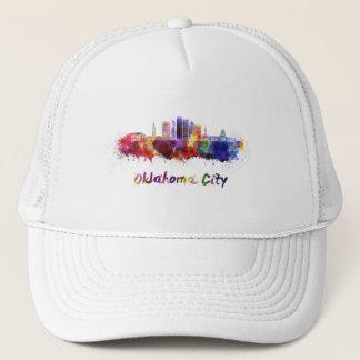 Oklahoma City V2 skyline in watercolor Trucker Hat
