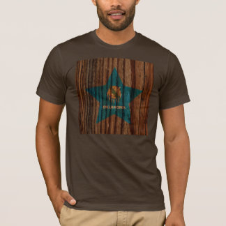 Oklahoma Flag Star on Wood theme T-Shirt