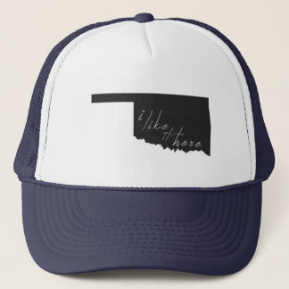 Oklahoma I Like It Here State Silhouette Black Trucker Hat