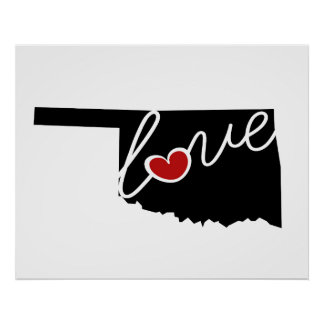 Oklahoma Love!  Gifts for OK Lovers Poster