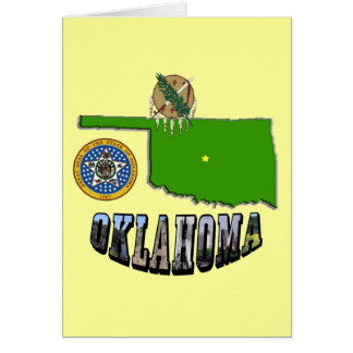 Oklahoma Map, seal and Picture Text Greeting Card