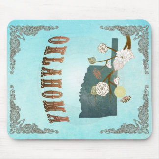Oklahoma Map With Lovely Birds Mouse Pad