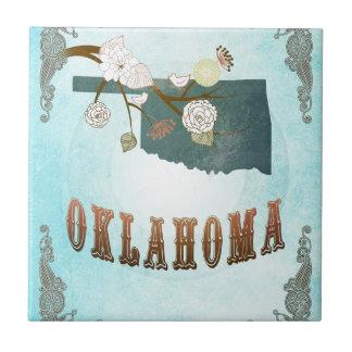 Oklahoma Map With Lovely Birds Ceramic Tile