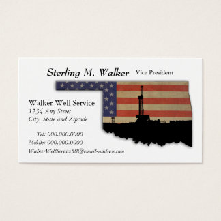 Oklahoma Patriotic Oil Drilling Rig Business Card
