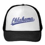Oklahoma script logo in blue distressed trucker hat