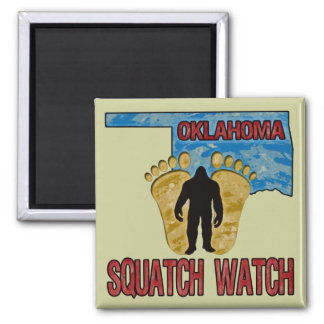 Oklahoma Squatch Watch Square Magnet