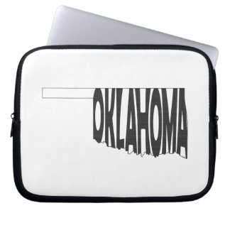 Oklahoma State Name Word Art Black Laptop Sleeve