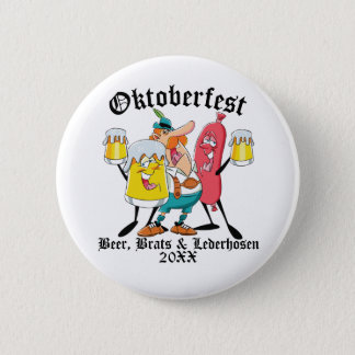 Oktoberfest Beer Brats & Lederhosen 6 Cm Round Badge