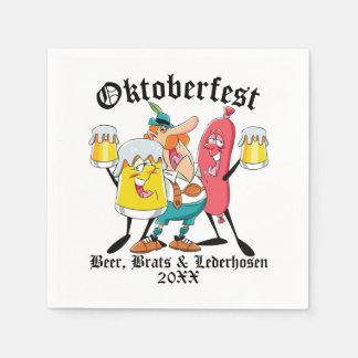 Oktoberfest Beer Brats & Lederhosen Disposable Serviettes
