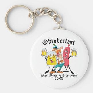 Oktoberfest Beer Brats & Lederhosen Key Ring