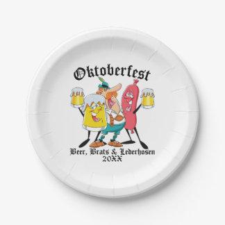 Oktoberfest Beer Brats & Lederhosen Paper Plate