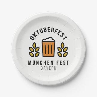 Oktoberfest Beerfest Munchen Fest Bayern Paper Plate