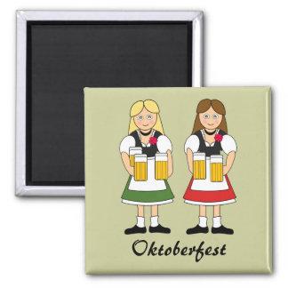 Oktoberfest Celebration Girls Square Magnet