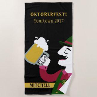 Oktoberfest custom name  & text beach towel
