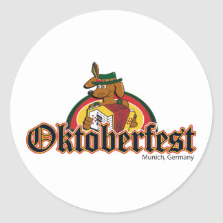 OKTOBERFEST Dachshund Playing Accordian Classic Round Sticker