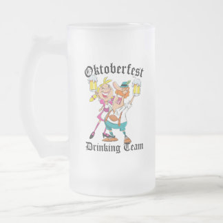 Oktoberfest Drinking Team Frosted Glass Beer Mug