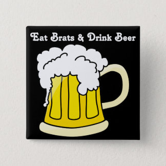 Oktoberfest Eat Brats & Drink Beer 2 15 Cm Square Badge