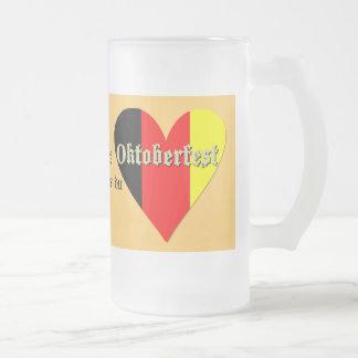 Oktoberfest Festival on Flag Heart Glass Frosted Glass Beer Mug